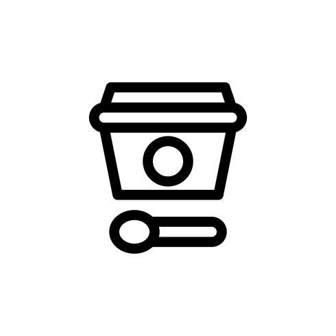 Illustrazione di vettore della tazza del gelato, icona di stile della linea dei dolci