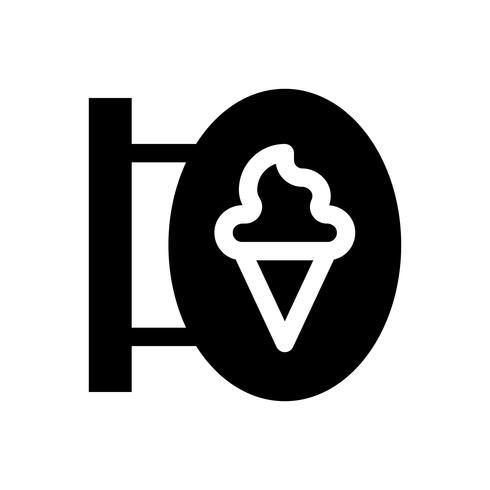 Illustrazione di vettore del segno del negozio di gelato, icona solida di stile