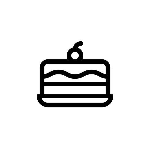 Illustrazione di vettore della torta del gelato, icona di stile di linea di dolci