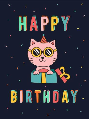 Scheda di compleanno divertente del gatto vettore