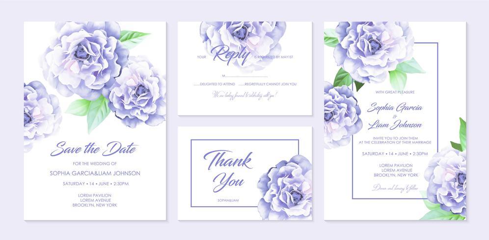Set di carte di nozze. vettore
