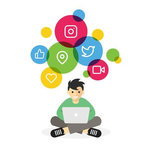 Ragazzo che si siede con il computer portatile che passa in rassegna i media sociali di Internet vettore