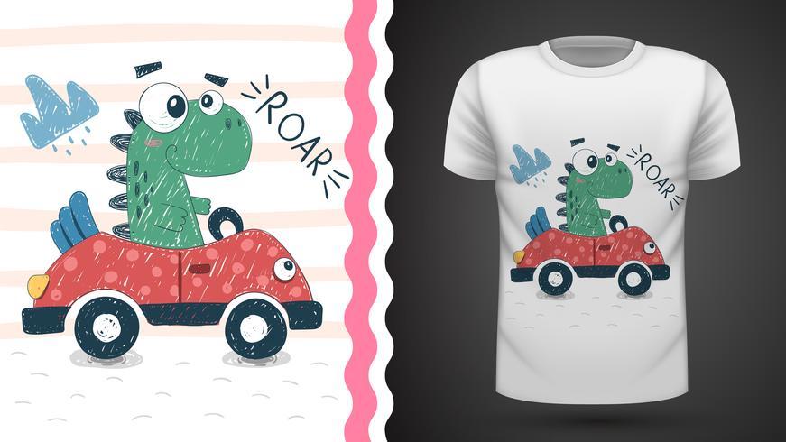 Dino carino con auto - idea per t-shirt stampata vettore