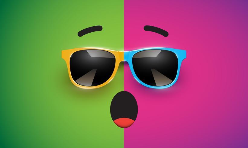 Alto emoticon colorato detiled con gli occhiali da sole, illustrazione di vettore