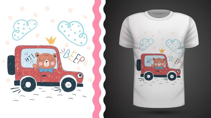 Orso e macchina: idea per la t-shirt stampata. vettore