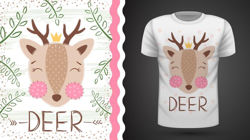 Idea cervo carina per t-shirt stampata. vettore