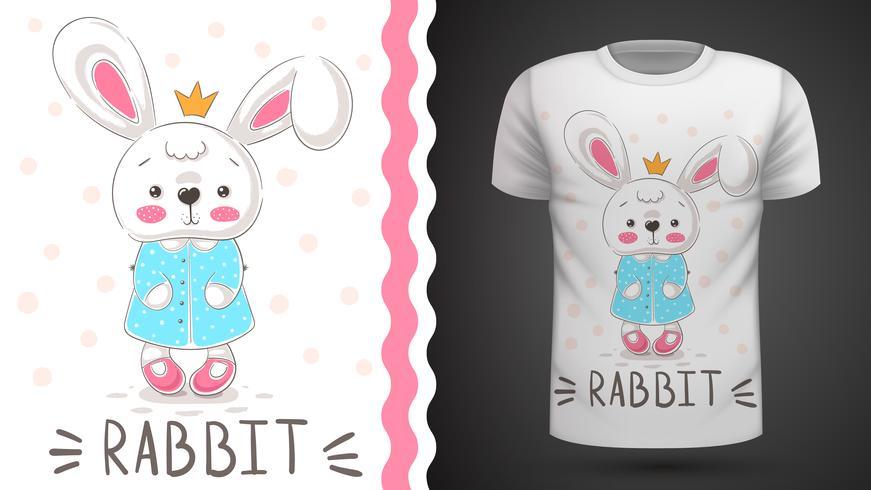 Principessa coniglio - idea per t-shirt stampata. vettore