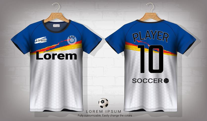 Modello di mockup di sport di jersey da calcio e t-shirt, grafica per kit da calcio o uniformi per abbigliamento sportivo. vettore