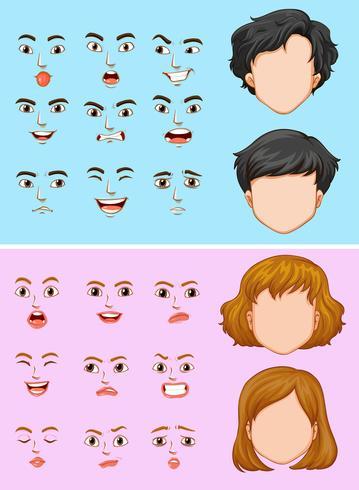 Uomo e donna con molte espressioni facciali vettore