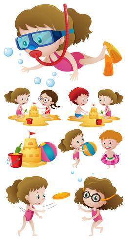 Bambini che giocano sulla spiaggia e nuotano nel mare vettore
