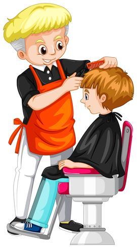 Ragazzino che ottiene taglio di capelli al barbiere vettore