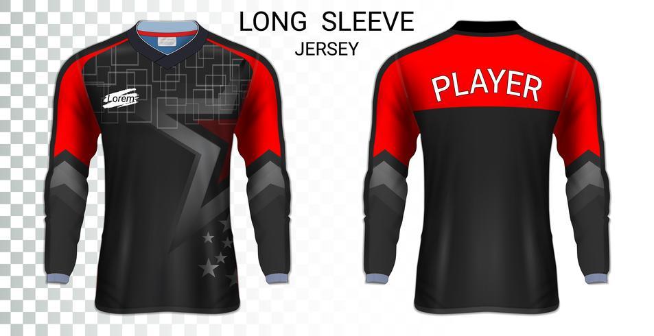 Modello di mockup di t-shirt a maniche lunghe da calcio, grafica per divise da calcio. vettore