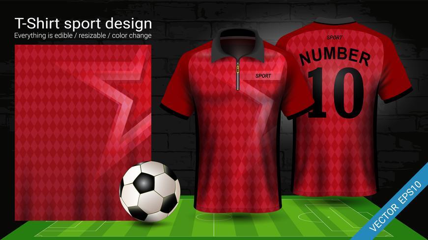 T-shirt polo con cerniera, modello mockup di Soccer jersey sport per kit calcio o divisa activewear per la tua squadra. vettore