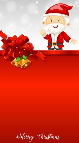 Santa e campane sul modello di cartolina di Natale vettore