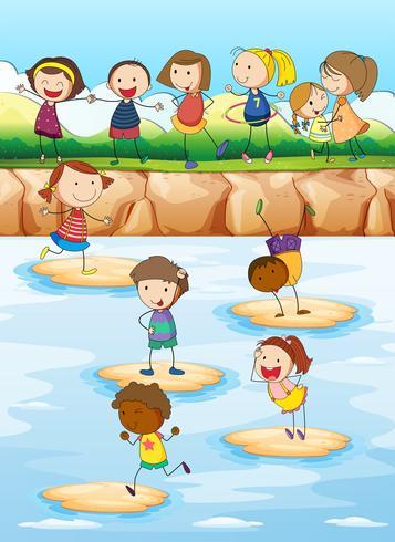 Bambini che giocano sulla scogliera vettore