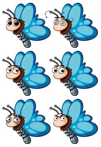 Farfalla con diverse emozioni facciali vettore