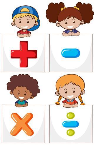 Quattro bambini con segni matematici diversi vettore
