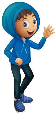 Ragazzo in giacca invernale blu vettore