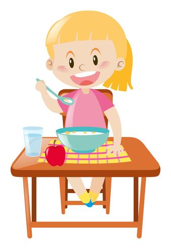 Ragazza felice facendo colazione vettore