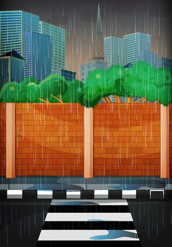Giornata di pioggia in città vettore