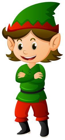 Elfo in camicia e cappello verdi vettore