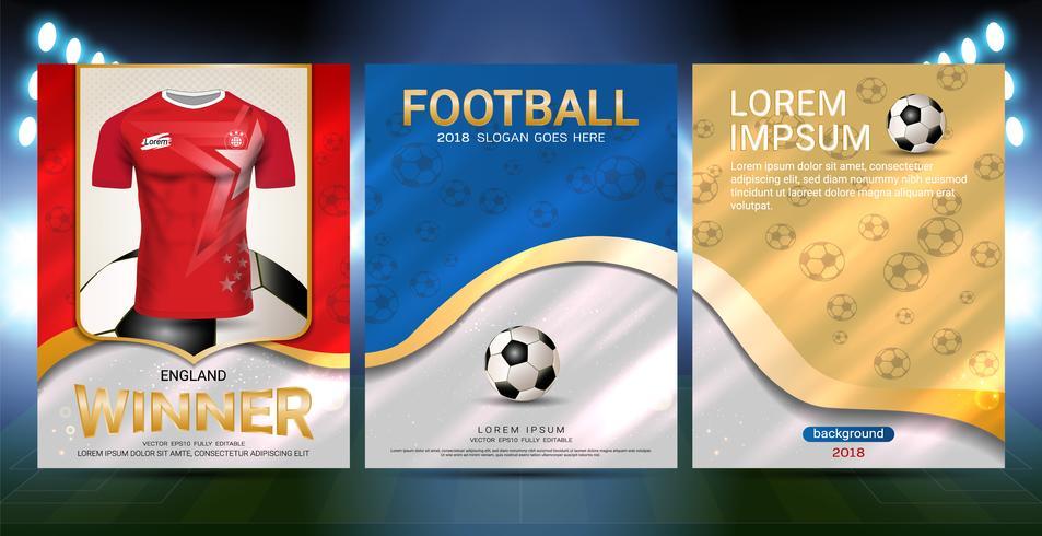 Modello di copertina di sport poster con calcio jersey team design oro e sfondo rosso di tendenza. vettore