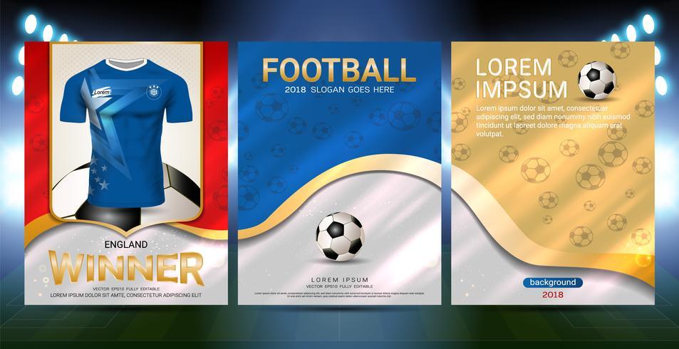 Modello di copertina di sport poster con calcio jersey team design oro e sfondo blu di tendenza. vettore