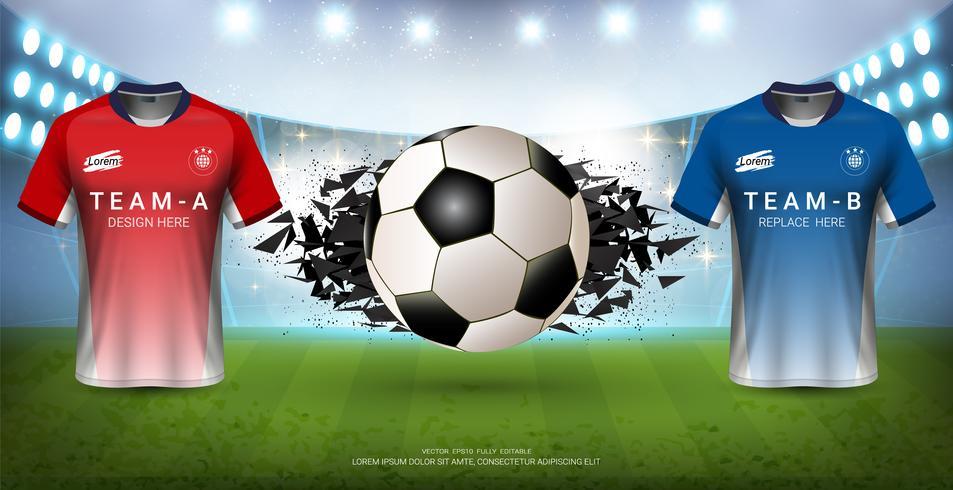 Modello di torneo di calcio per evento sportivo, squadra di mock-up di maglia di calcio A vs squadra B. vettore