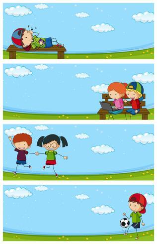 Quattro scene del parco con bambini felici vettore