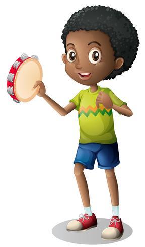 Ragazzino che suona il tamburino vettore