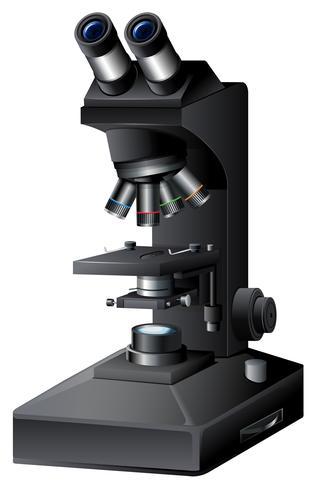 Un microscopio nero su backgroung bianco vettore