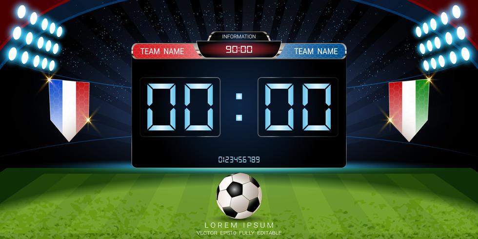 Tabellone segnapunti digitale, partita di calcio con la bandiera, modello grafico di trasmissione di strategia. vettore