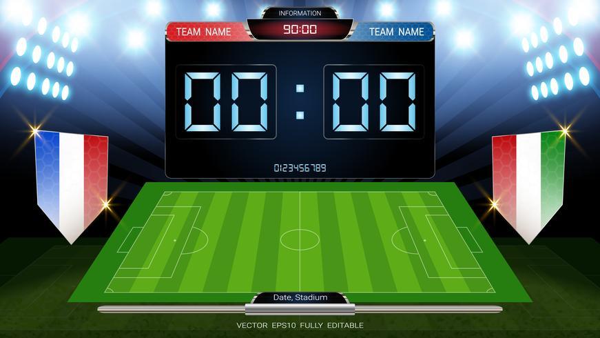 Tabellone segnapunti e campo di calcio illuminato dai riflettori, stats globali trasmettono il modello di calcio grafico con la bandiera. vettore