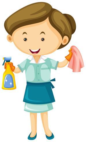 Cameriera con spray e panno puliti vettore