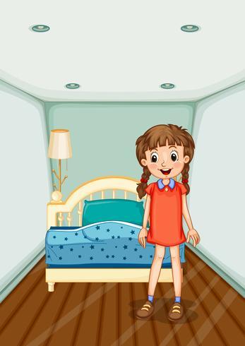 Ragazza in piedi nella camera da letto con letto blu vettore