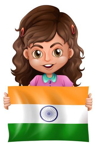 Ragazza carina e bandiera dell'India vettore