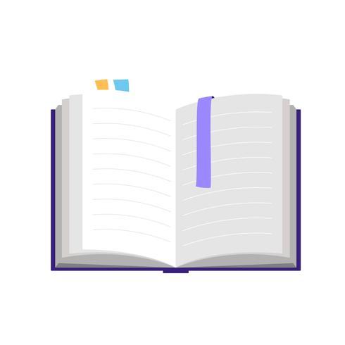 Libro aperto, illustrazione vettoriale isolato in stile piano, icona per l'apprendimento e l'istruzione, l'università e la scuola