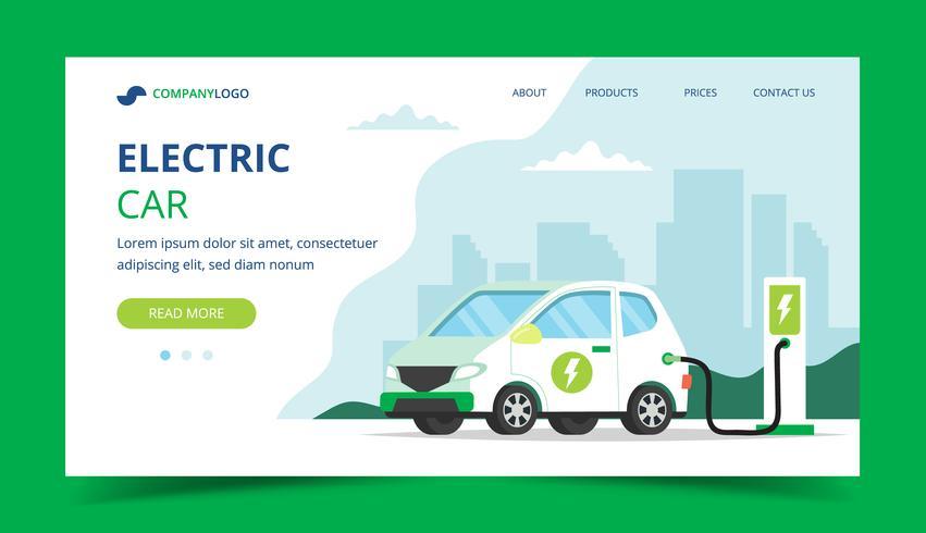 Pagina di atterraggio di carico dell'automobile elettrica - illustrazione di concetto per ambiente, ecologia, sostenibilità, aria pulita, futuro. vettore