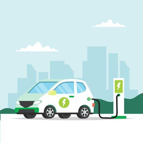 Automobile elettrica che si carica con la priorità bassa della città. Illustrazione di concetto per ambiente, ecologia, sostenibilità, aria pulita vettore