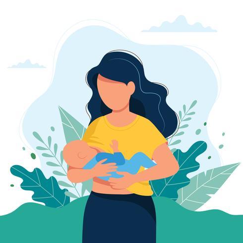 Illustrazione di allattamento al seno, madre che alimenta un bambino con il seno su sfondo naturale. Illustrazione del concetto vettore
