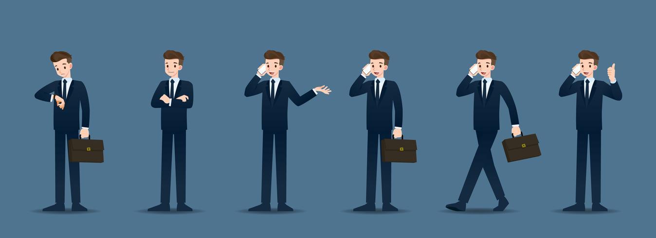 Set di uomo d'affari in 6 diversi gesti. Le persone nel mondo degli affari si atteggiano ad aspettare, comunicare e avere successo. Illustrazione vettoriale. vettore