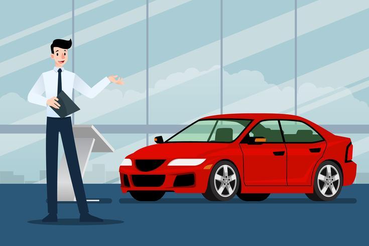 Un uomo d'affari felice, commesso è in piedi e presenta la sua auto di lusso che ha parcheggiato nello show room.Vector design illustrazione. vettore