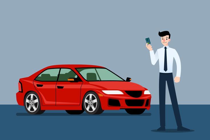 Uomo d'affari felice, supporto del venditore e carta di credito della tenuta davanti all'automobile di lusso che parcheggiano nella grande sala d'esposizione. vettore