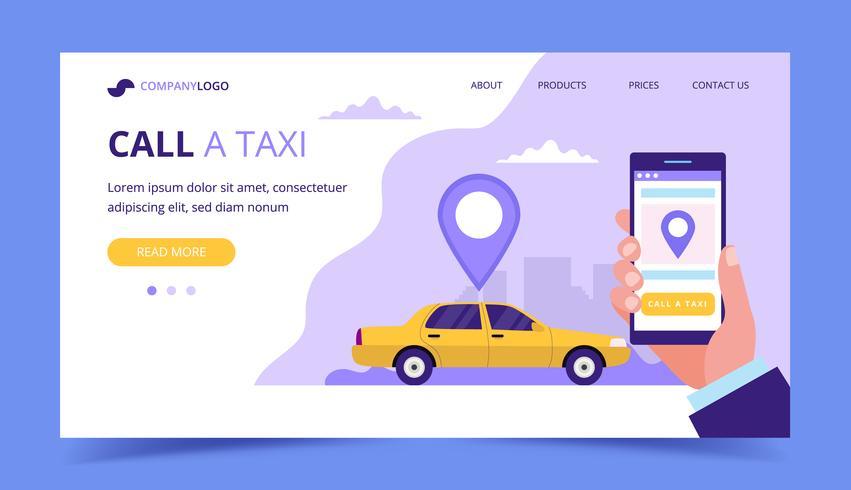Chiama una pagina di destinazione del taxi. Illustrazione di concetto con auto taxi e mano che tiene uno smartphone. vettore