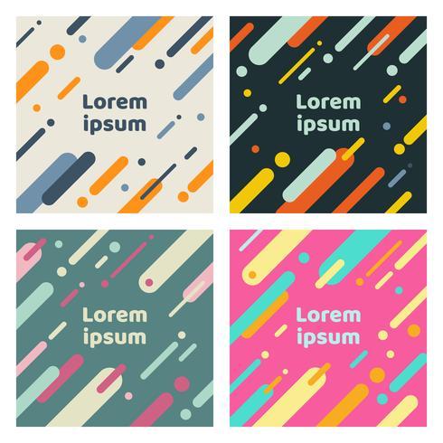 Set di copertine astratte con motivo geometrico arrotondato linee piatte. Cool sfondi colorati. È possibile utilizzare per banner, cartelli, manifesti, volantini vettore
