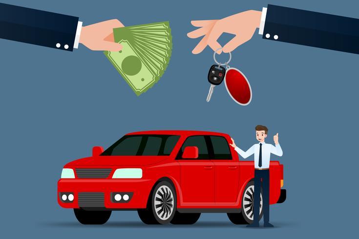 Il rivenditore di auto effettua uno scambio, una vendita, un affitto tra un'auto e la carta di credito del cliente. Illustrazione vettoriale. vettore