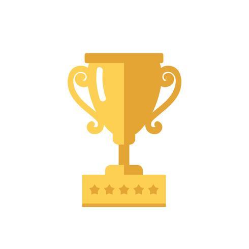 Trofeo, illustrazione vettoriale isolato in stile piano, icona per vincere, successo, campionato, competizione. Vettore