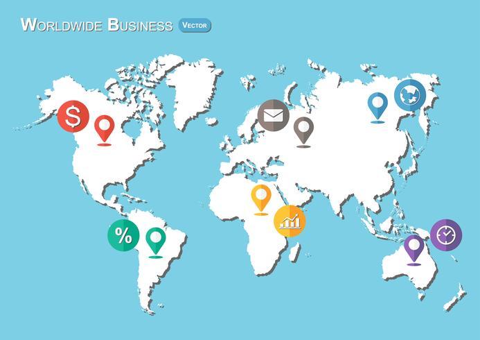 Mappa del mondo con l'icona di puntatori e affari (design piatto) vettore