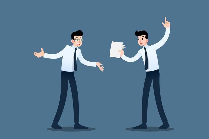 Due uomini d'affari si consultano l'un l'altro per migliorare i loro affari per raggiungere l'obiettivo di profitto e rendere la loro organizzazione con successo. Illustrazione vettoriale in business concept design.