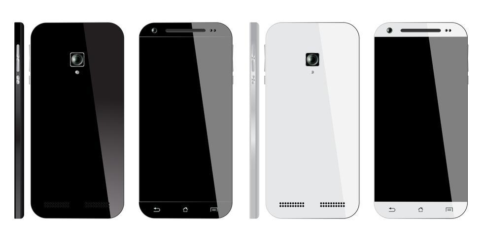 Realistico smartphone bianco e nero vettore